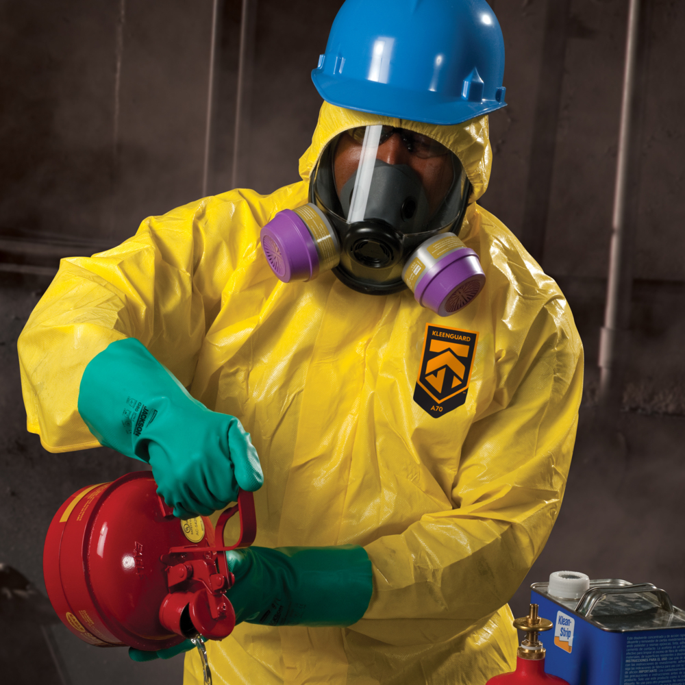 KleenGuard™ A71 Chemical Permeation and Liquid Jet Spray Protection Coveralls (46774), Zip Front, Elastic Wrists, Waist, Ankles and Hood, XXXL, High-Visibility Yellow, 10 Garments / Case - 46774