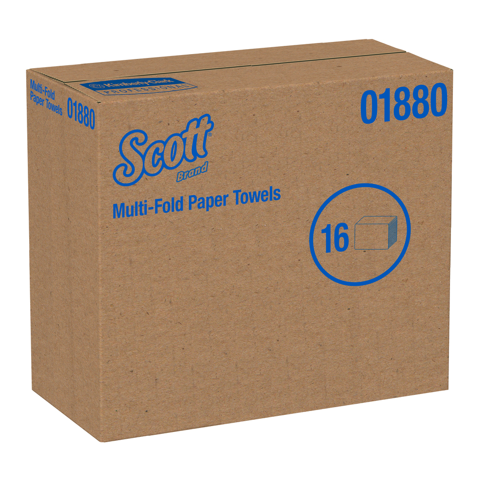 "Scott® Essential Multifold Paper Towels (01880), Absorbency Pockets, Low Wet Strength, 7"" x 9.25"", White, 255 Sheets / Pack, 16 Packs / Case, 4,080 Towels / Case - 01880"