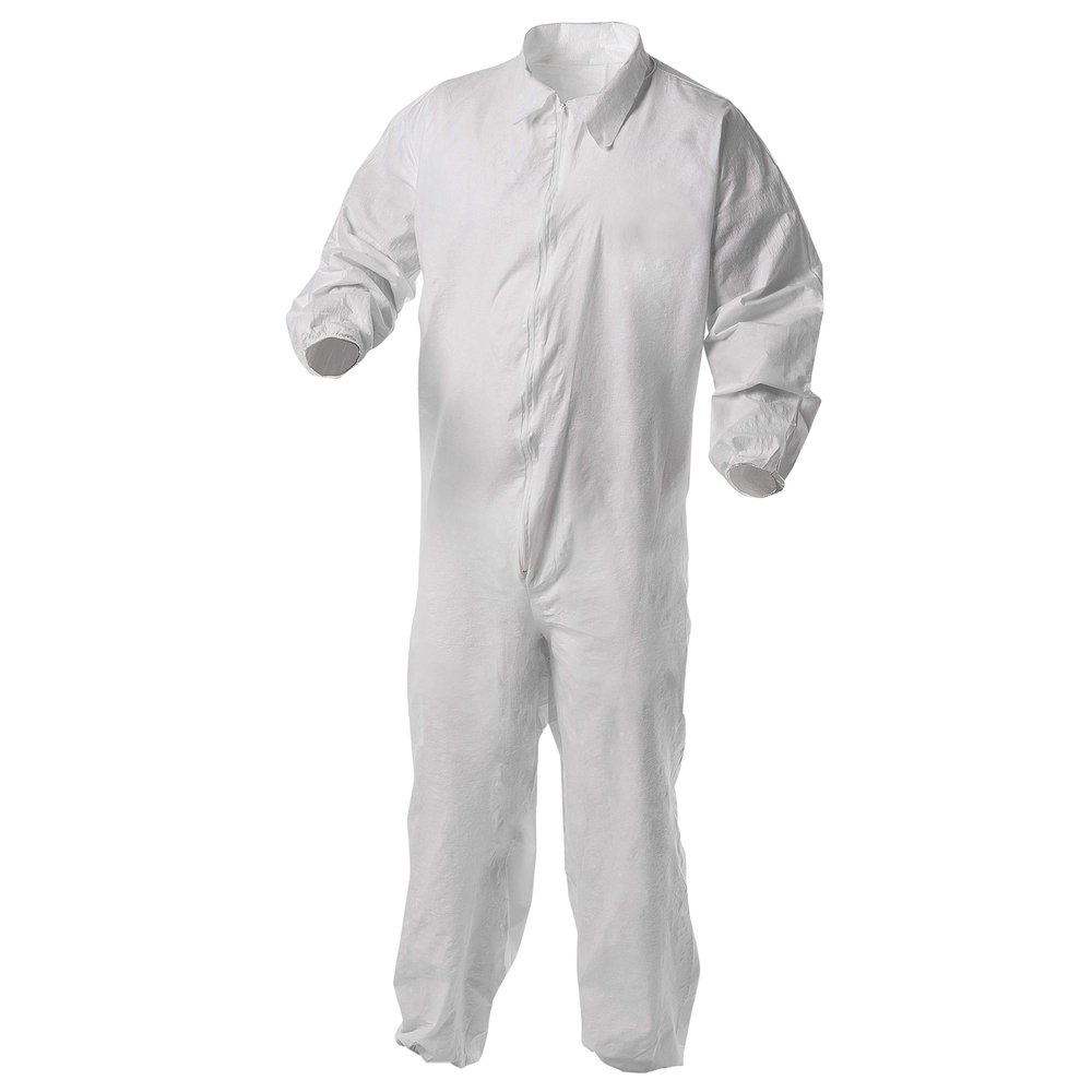 KleenGuard™ A35 Disposable Coveralls (38925), Liquid and Particle Protection, Zip Front, Elastic Wrists & Ankles (EWA), White, Small, 25 Garments / Case - 38925