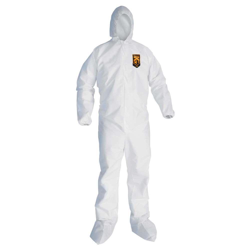 KleenGuard™ A10 Light Duty Coveralls (10615), Zip Front, Elastic Wrists, Hood, Boots, Breathable Material, White, 4XL, 25 / Case - 10615