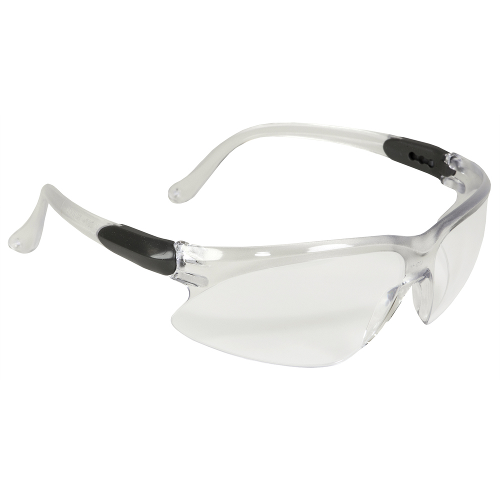 KleenGuard™ Visio Safety Eyewear (14470), Economical Glasses, UV Protection, Clear Lenses, 3-Point Extendable Silver Temples, 12 Pairs / Case - 14470