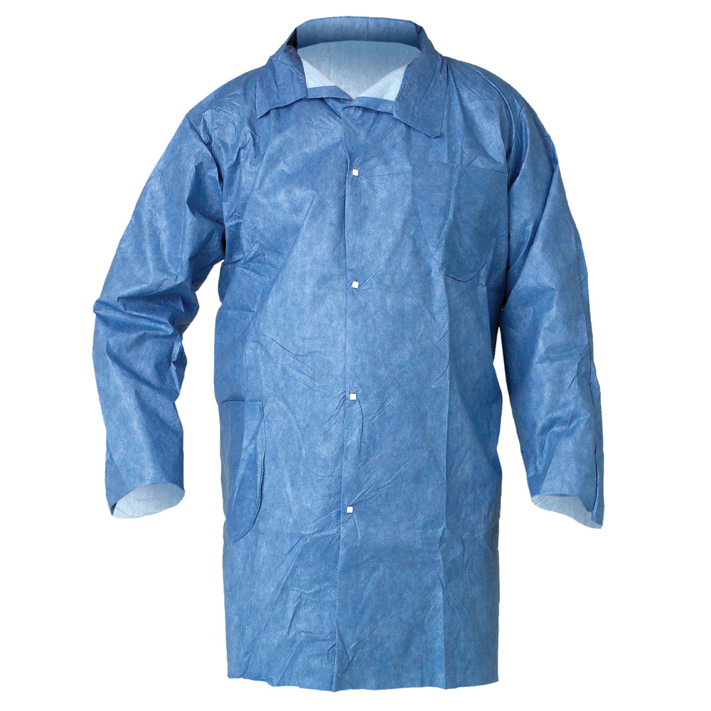 KleenGuard™ A60 Bloodborne Pathogen & Chemical Splash Protection Lab Coat (45512), Snap Closure, 2 Pockets, Medium, Blue, 25 Lab Coats / Case - 45512