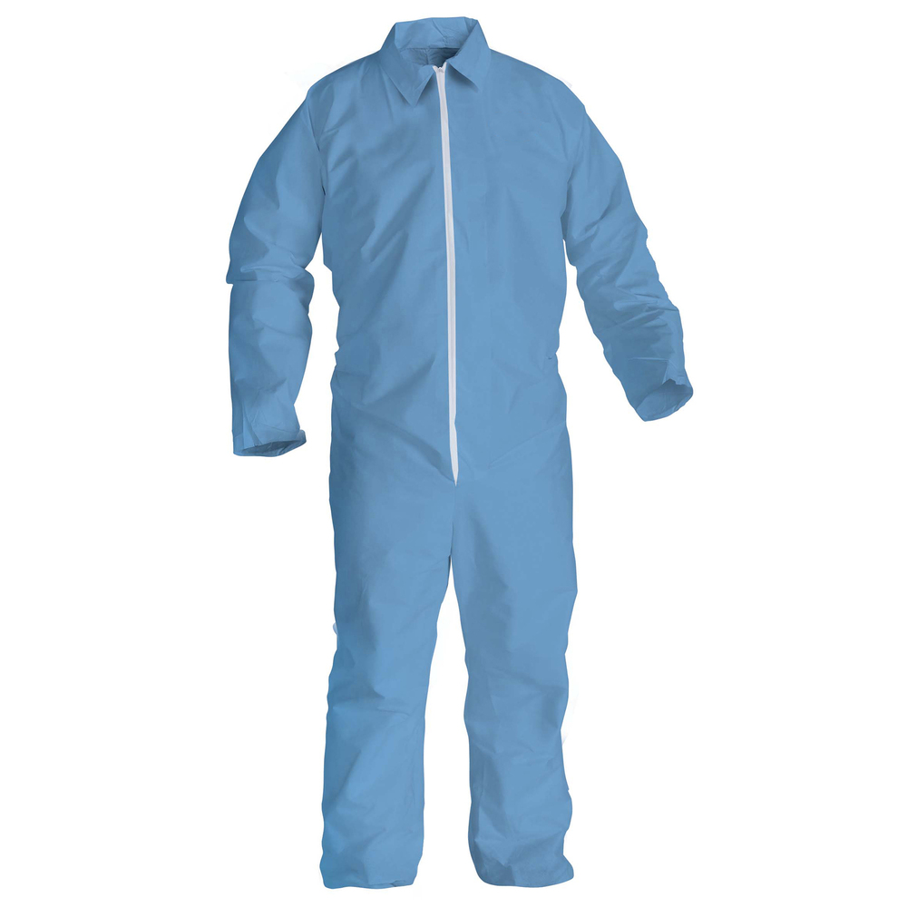 KleenGuard™ A65 Flame Resistant Coveralls (45317), Zip Front, Open Wrists & Ankles, ANSI Sizing, Anti-Static, Blue, 4XL, 21 / Case - 45317