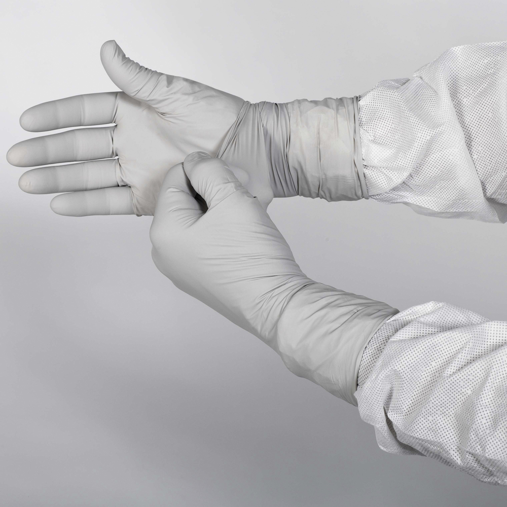 "Kimtech™ G3 Sterile Sterling™ Nitrile Gloves (11828), 4 Mil, Cleanrooms, Hand Specific, 12"", Size 10, Gray, 300 Pairs / Case - 11828"