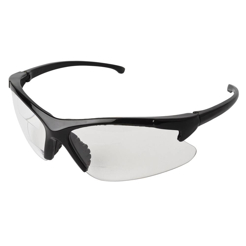 KleenGuard™ Dual Readers Safety Glasses (20387), Clear Lenses with +1.5 Diopters, Black Frame, 6 Pairs - 20387