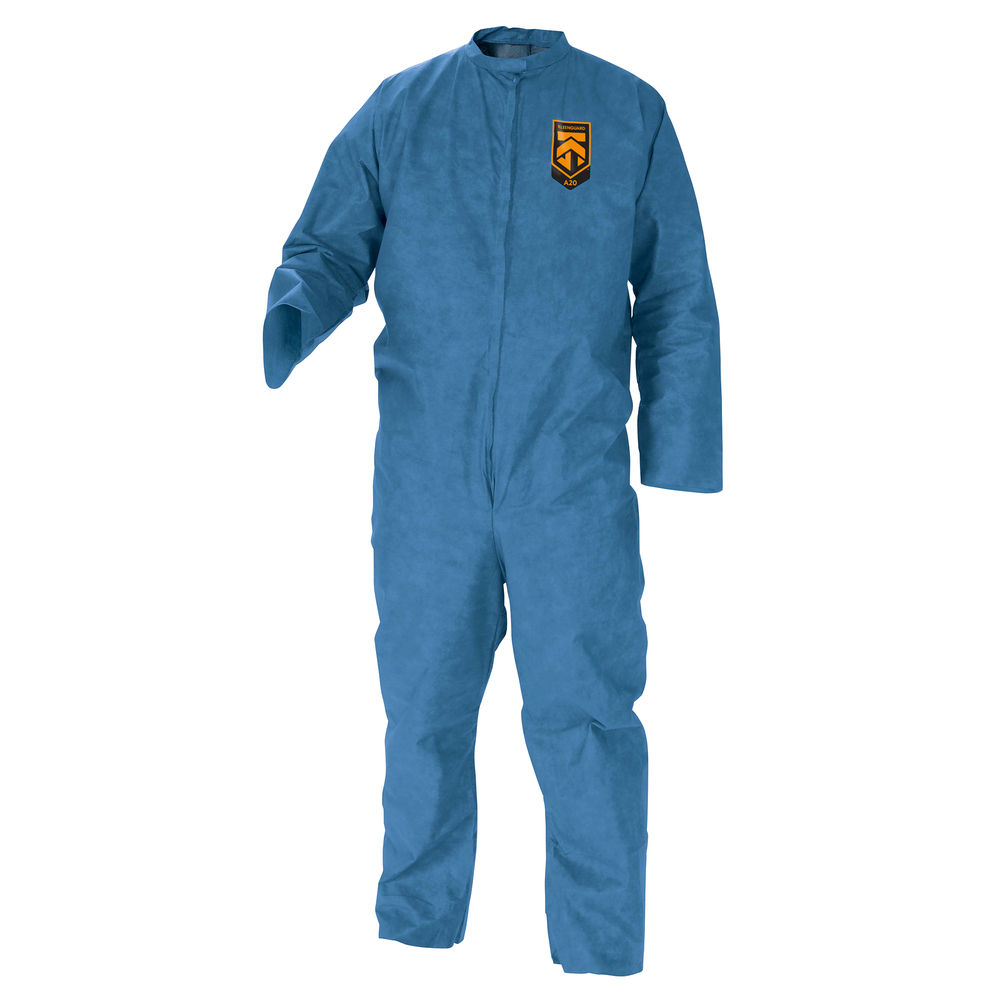 KleenGuard™ A20 Breathable Particle Protection Coveralls (58532), REFLEX Design, Zip Front, Blue, Medium, 24 / Case - 58532