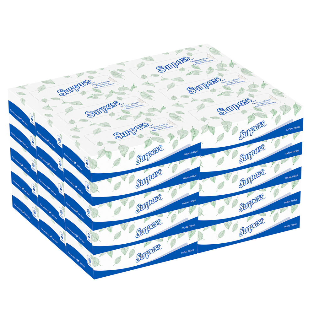 Surpass® Facial Tissue Flat Box (21340), 2-Ply, White, Unscented, 100 Tissues / Box, 30 Boxes / Big Case