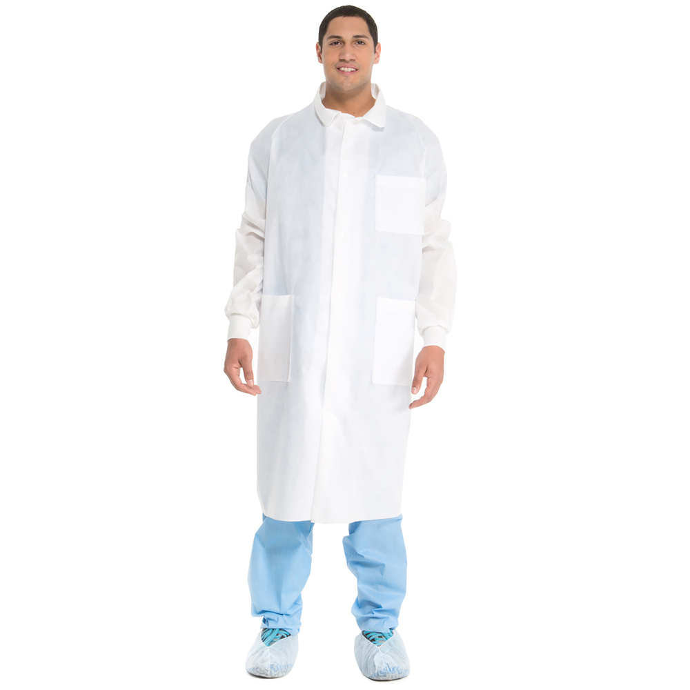 Kimtech™ A8 Certified Lab Coats with Knit Cuffs + Extra Protection (10042), Protective 3-Layer SMS Fabric, Back Vent, Unisex, White, Large, 25 / Case - 10042