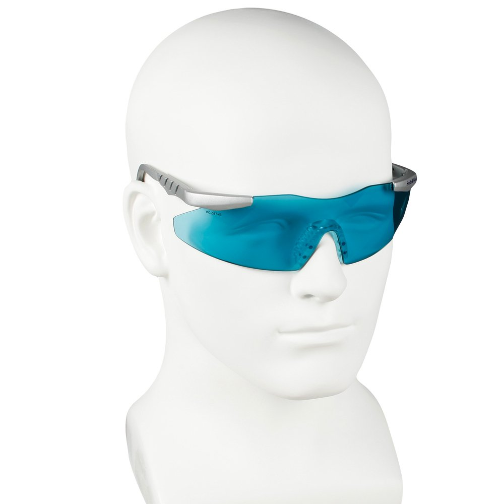 Smith & Wesson® Safety Glasses (19830), Magnum 3G Safety Eyewear, Teal Lenses with Platinum Frame, 12 Units / Case - 19830