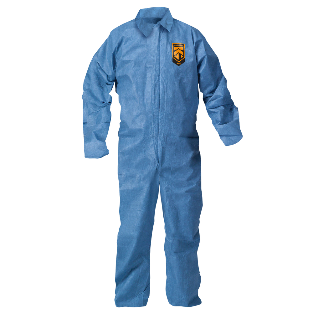 KleenGuard™ Chemical Resistant Suit, A60 Bloodborne Pathogen & Chemical Splash Protection Coveralls (45233), Zip Front, Large, Blue, 24 Garments / Case - 45233