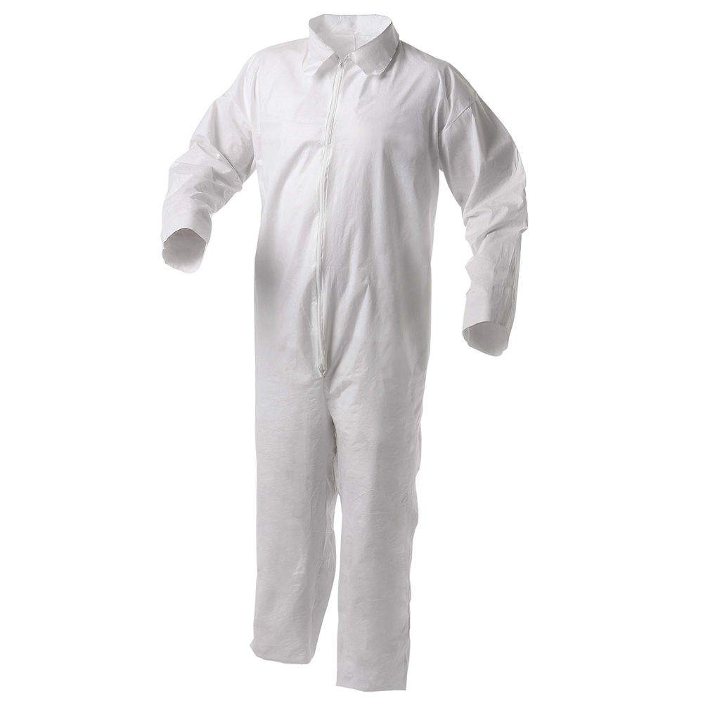 KleenGuard™ A35 Disposable Coveralls (38916), Liquid and Particle Protection, Zip Front, Open Wrists & Ankles, White, Small, 25 Garments / Case - 38916