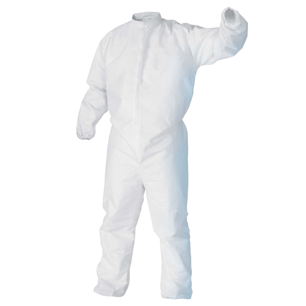 Kimtech™ A5 Clean Processed Cleanroom Coveralls (88844), Mandarin Collar, Thumb Loops, Reflex Design, Large, 25 / Case - 88844