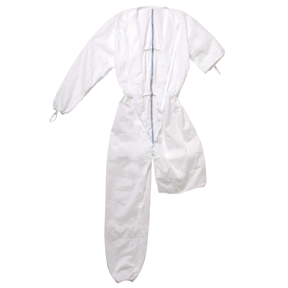 Kimtech™ A5 Sterile Cleanroom Coveralls (88801), Clean Don, Mandarin Collar, Thumb Loops, Reflex Design, White, Medium, 25 / Case - 88801