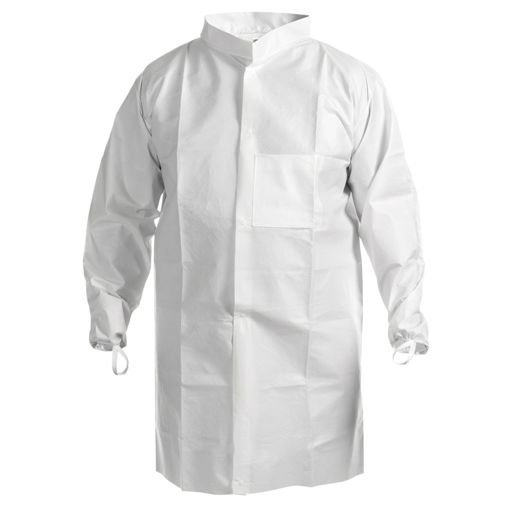 Kimtech™ A7 Cleanroom Lab Coat (47653), High Collar, Thumb Loops, Splash Protection, Anti-Static, Double Bag, Large, 30 / Case - 47653