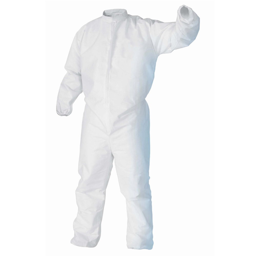 Kimtech™ A5 Cleanroom Coveralls (49831), Covered Zipper, Storm Flap, Thumb Loops, High Collar, Bulk Package, White, Small, 25 / Case - 49831