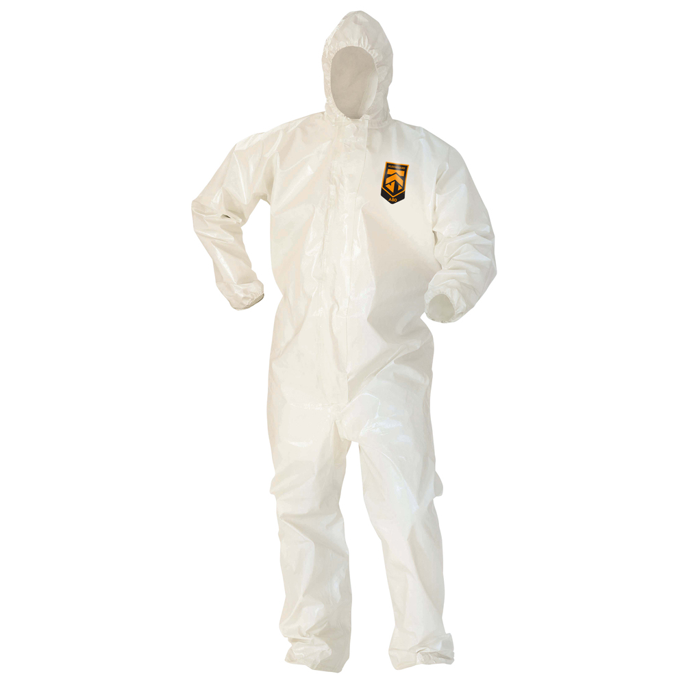 KleenGuard™ A80 Chemical Permeation & Jet Liquid Particle Protection Coveralls (45643), Zip Front, Storm Flap, EWA, Respirator-Fit Hood, White, Large, 12 / Case