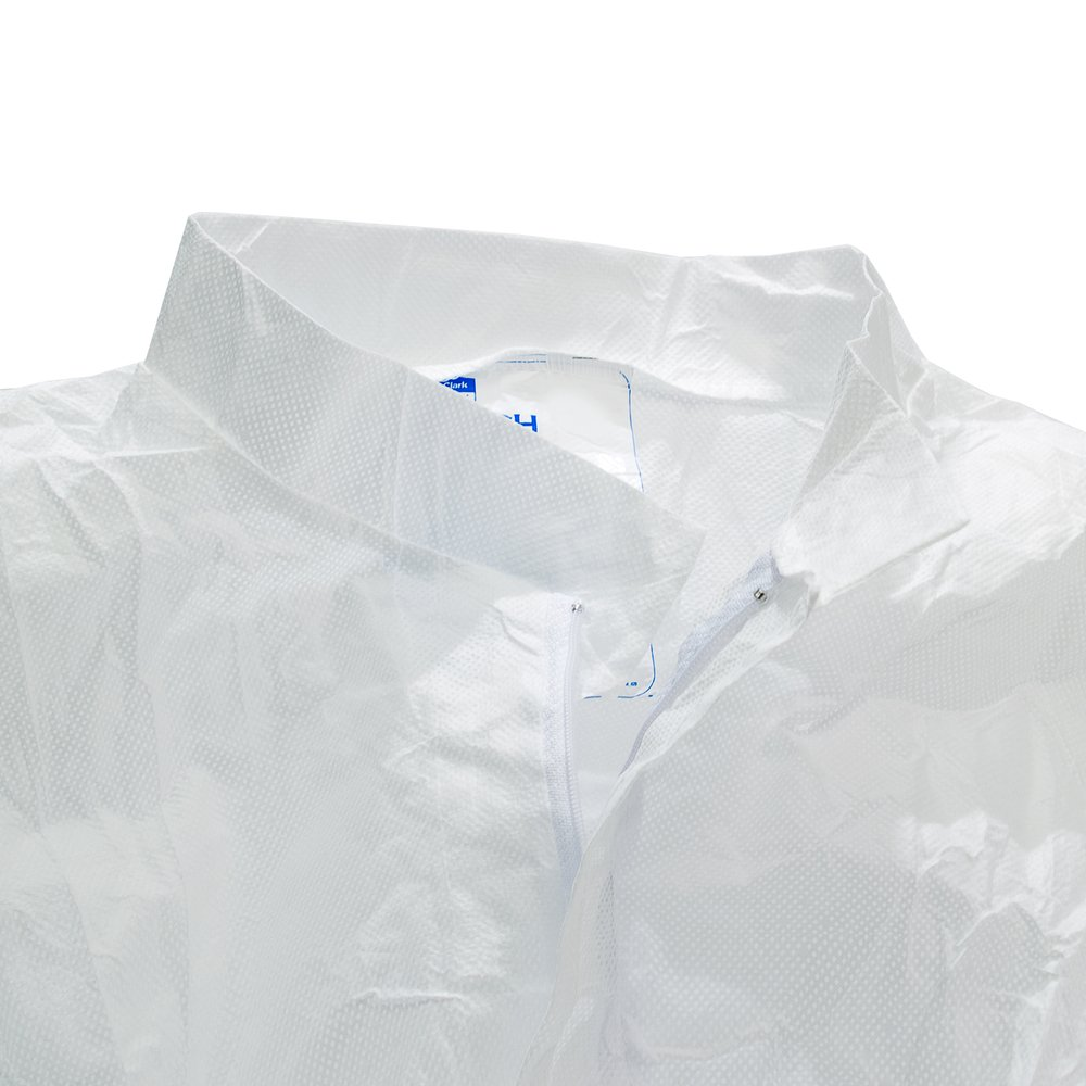 Kimtech™ A5 Clean Processed Cleanroom Coveralls (88843), Mandarin Collar, Thumb Loops, Reflex Design, White, Medium, 25 / Case - 88843