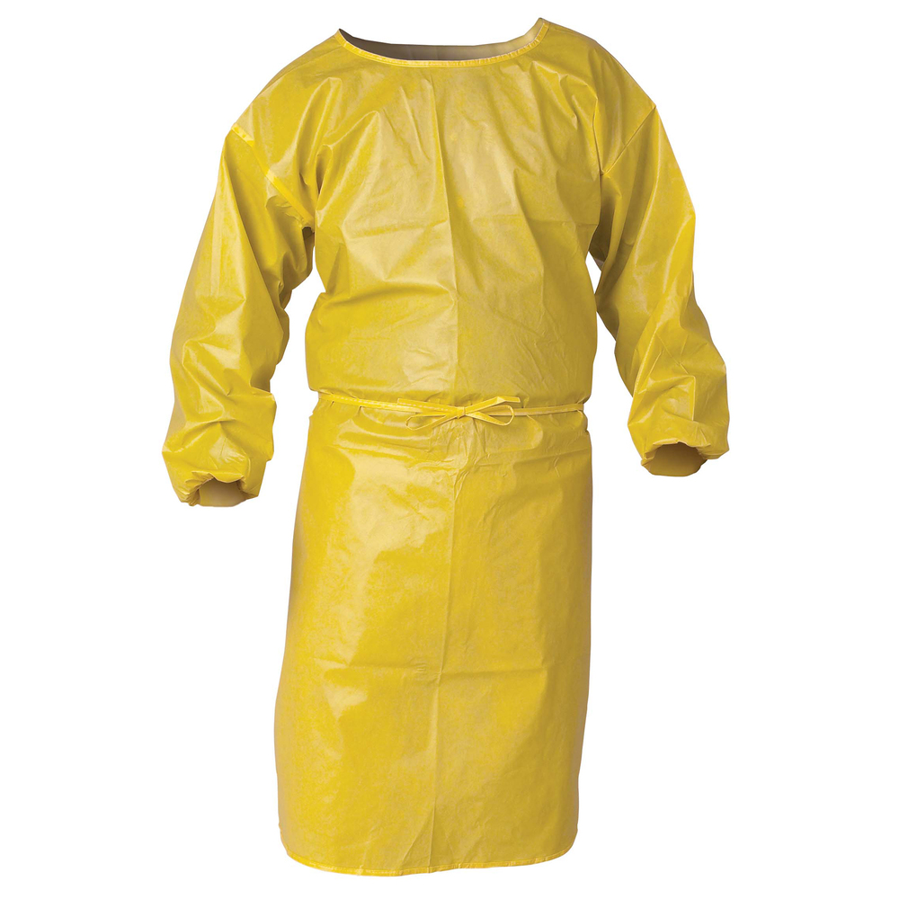 "KleenGuard™ A70 Chemical Spray Protection Smock (09829), 44"" Length, Bound Seams, Elastic Wrists, One Size, Yellow, 25 Smocks / Case - 09829"