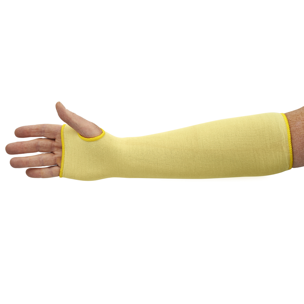 "KleenGuard™ G60 Level 2 Cut Resistant Sleeve (90070), Yellow, With Thumbhole, One Size, Ambidextrous, 18"" Long, 60 Sleeves / Case - 90070"