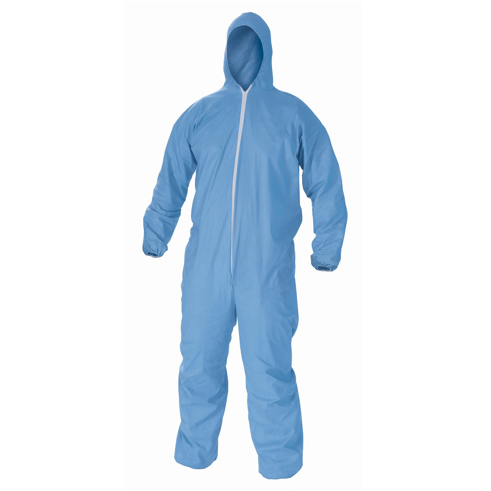 KleenGuard™ A65 Flame Resistant Coveralls (45325), Hood, Zip Front, Elastic Wrists & Ankles, ANSI Sizing, Anti-Static, Blue, 2XL, 25 / Case - 45325