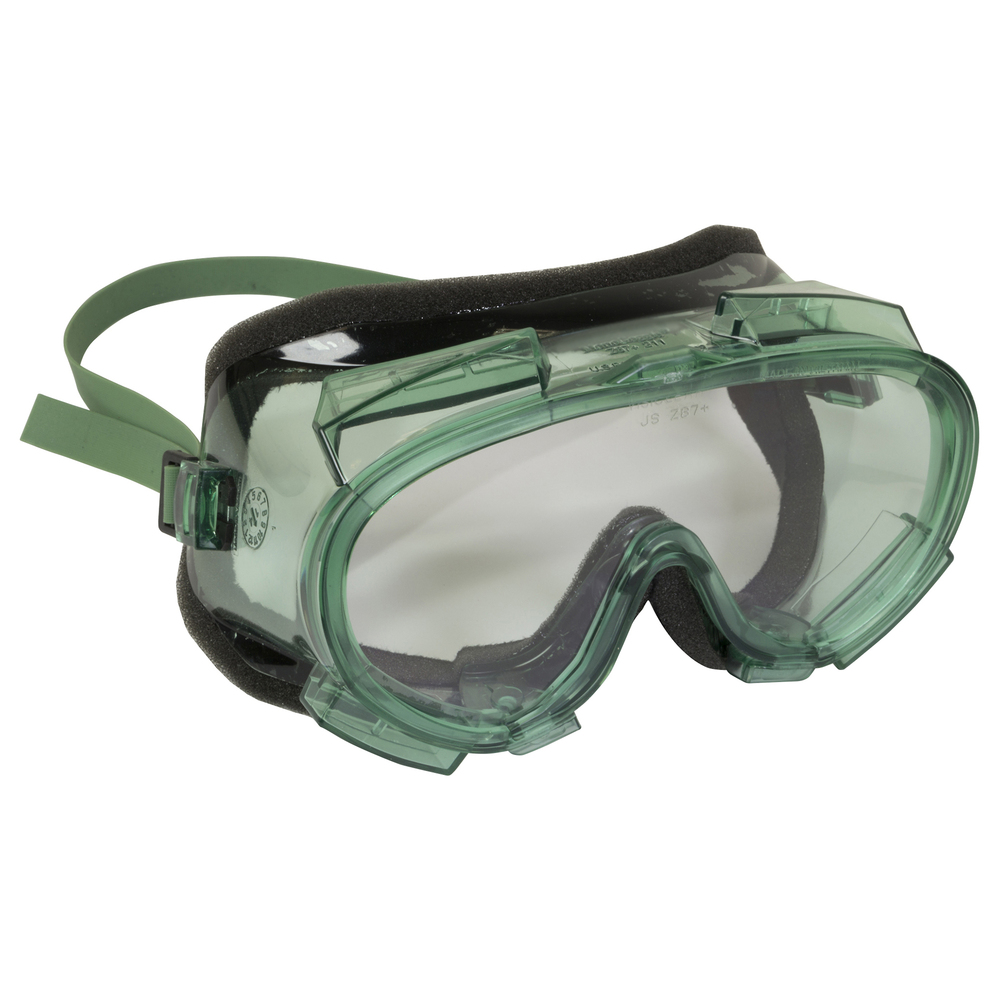 KleenGuard™ V80 Monogoggle 211 Goggle Protection (16668), Foam Lined, Anti-Fog Clear Lens, Green Frame, 36 Pairs / Case - 16668