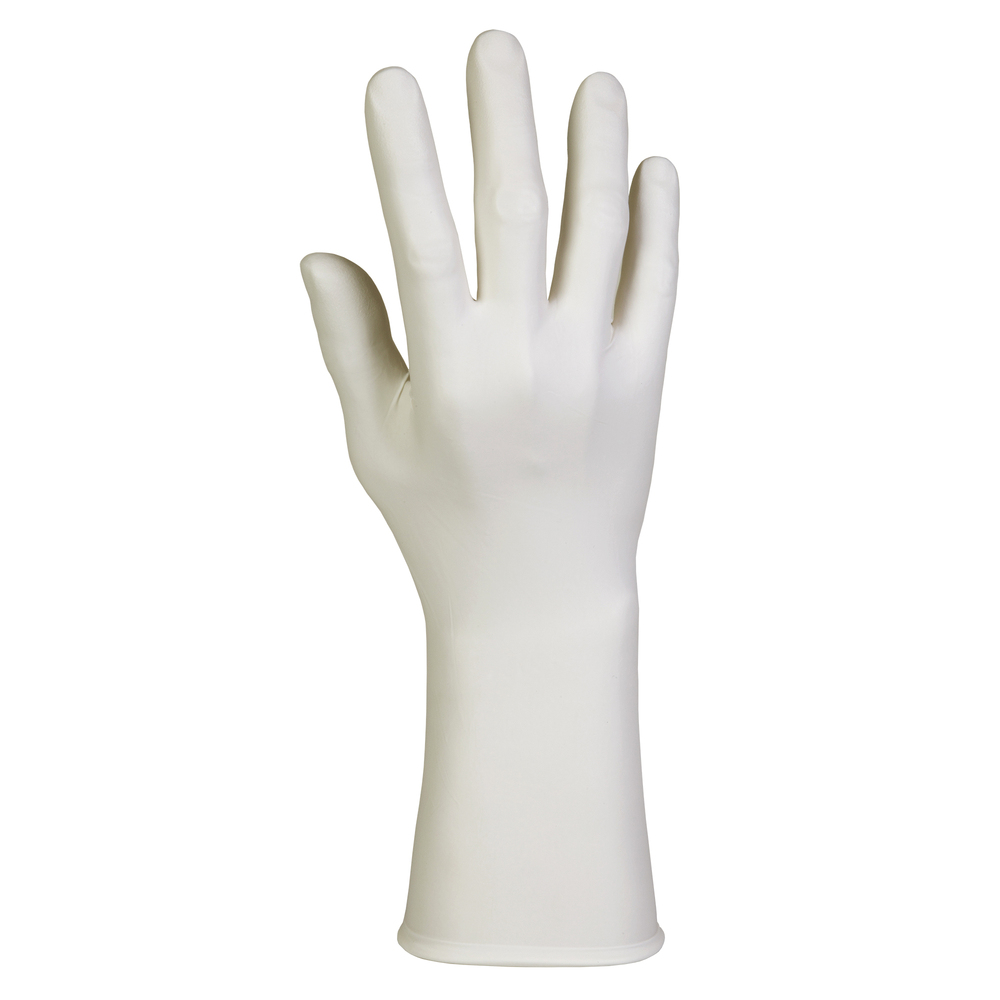 "Kimtech™ G3 Sterile White Nitrile Gloves (56887), ISO Class 4 or Higher Cleanrooms, 6 Mil, Hand Specific, 12"", Size 10.0, 200 Pairs / Case, 4 Bags of 50 Pairs - 56887"