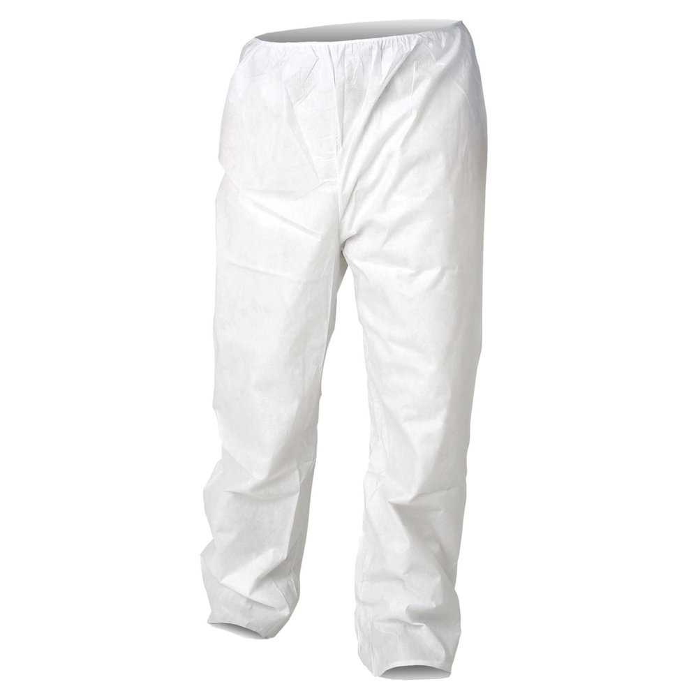 KleenGuard™ A20 Breathable Particle Protection Pants (36225), Serged Seams, Elastic Waist, Open Ankles, White, 2XL, 50 / Case - 36225