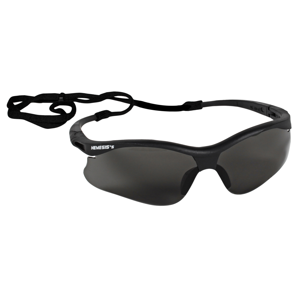KleenGuard™ V30 Nemesis Small Safety Glasses (38476), Lightweight, Smoke with Black Frame, 12 Pairs / Case - 38476