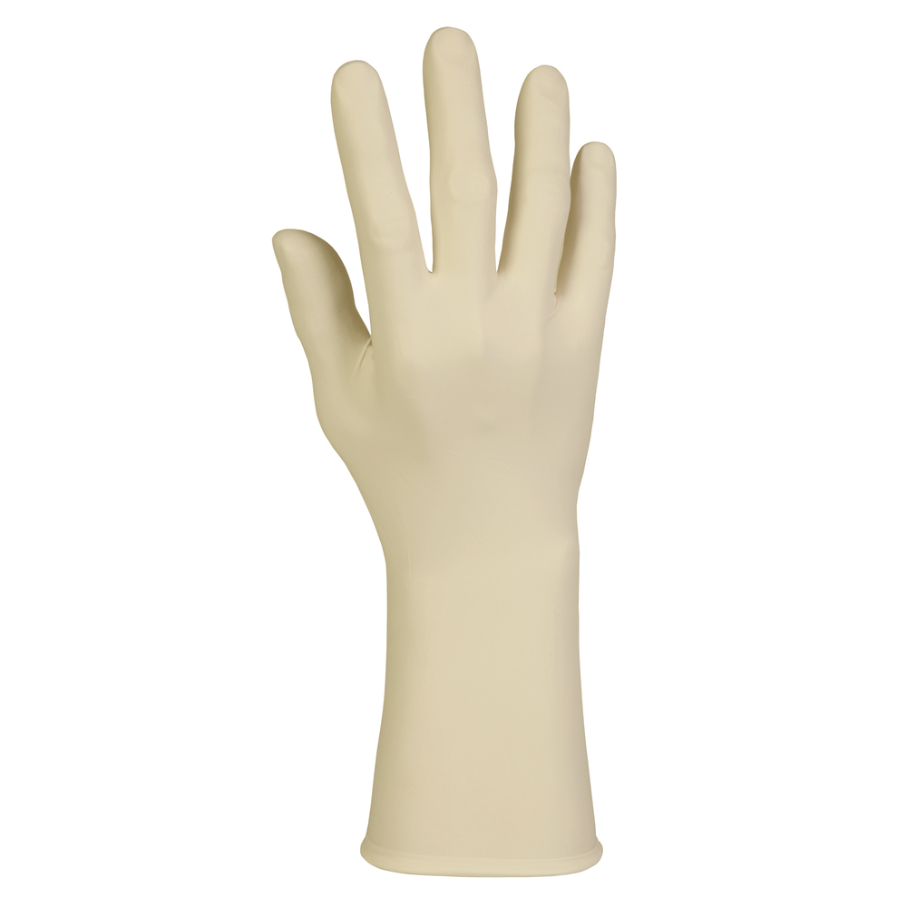 "Kimtech™ G3 Latex Gloves (56814), ISO Class 4 or Higher Cleanrooms, 8 Mil, Ambidextrous, 12"", Medium, Natural Color, 100 / Box, 10 Boxes, 1,000 Gloves / Case - 56814"