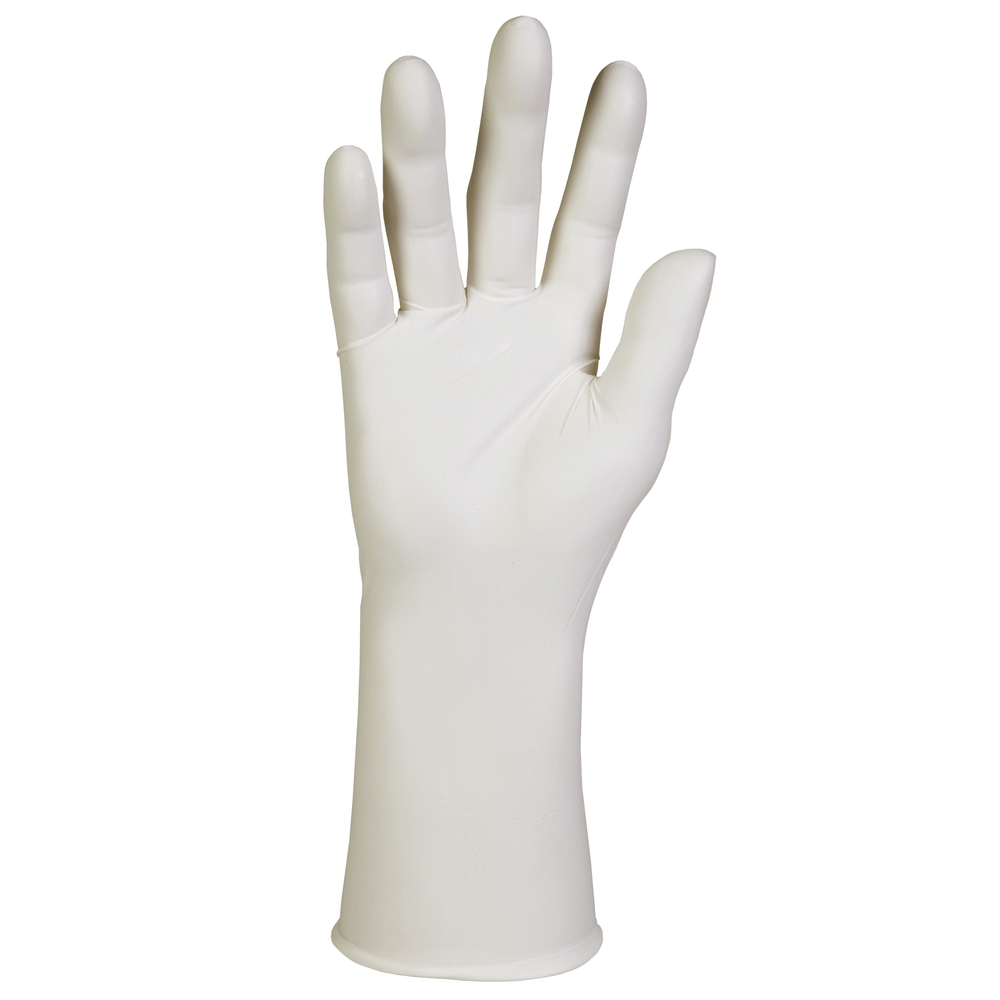 "Kimtech™ G3 White Nitrile Gloves (56883), ISO Class 4 or Higher Cleanrooms, High Tack Grip, Ambidextrous, 12"", Large, Double Bagged, 100 / Bag, 10 Bags, 1,000 Gloves / Case - 56883"