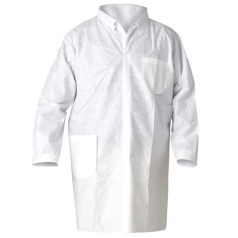 KleenGuard™ A20 Breathable Particle Protection Lab Coats (10039), 4 Snap Closure, Knee Length, White, XL, 25 / Case - 10039