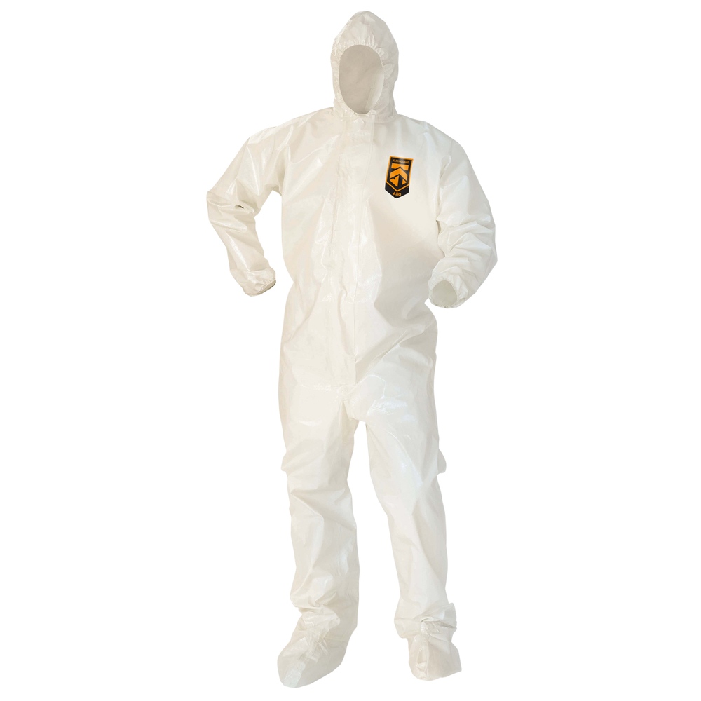 KleenGuard™ A80 Chemical Permeation & Jet Liquid Particle Protection Coveralls (45663), Zip Front, Storm Flap, EWA, Respirator-Fit Hood, Boots, White, Large, 12 / Case