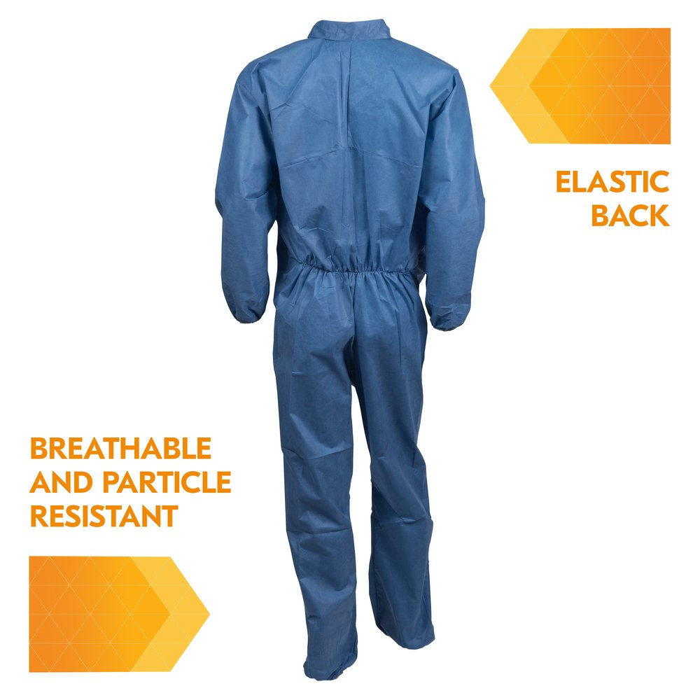 KleenGuard™ A20 Breathable Particle Protection Coveralls (58503), REFLEX Design, Zip Front, Elastic Back, Wrists & Ankles, Blue Denim, Large, 24 / Case - 58503