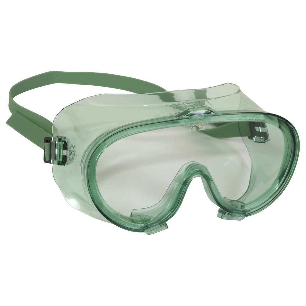 KleenGuard™ V70 Monogoggle 202 Safety Goggles (16666), D4 / D5 Rating for Dust Protection, Clear Lens, Green Frame, 6 Pairs / Case - 16666