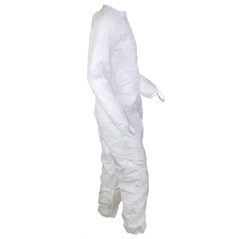 Kimtech™ A5 Sterile Cleanroom Coveralls (88800), Clean Don, Mandarin Collar, Thumb Loops, Reflex Design, White, Small, 25 / Case - 88800