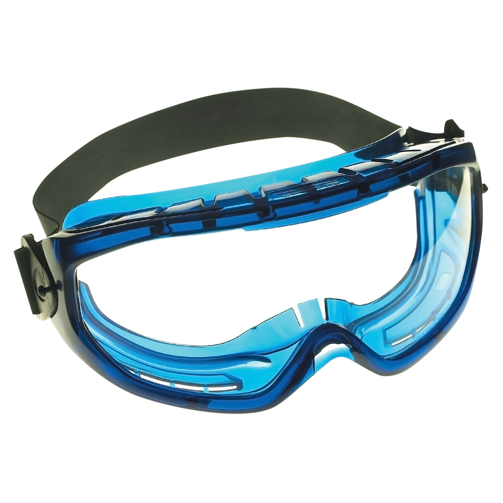 KleenGuard™ V80 Monogoggle XTR OTG Goggle Protection (18624), Over Glasses, Anti-Fog, Clear Lens, Blue Frame, 6 Pairs / Case - 18624