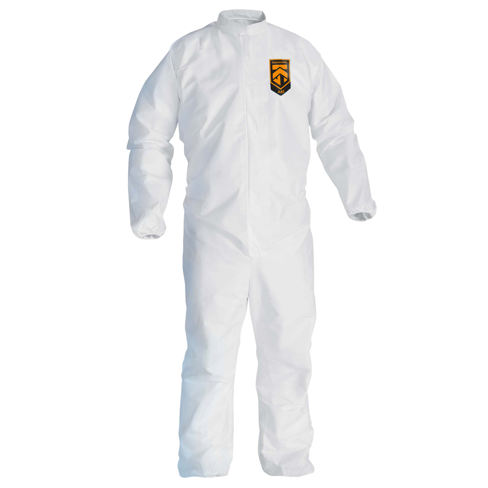 KleenGuard™ A45 Liquid & Particle Surface Prep & Paint Protection Coveralls (41497), Reflex Design, Zip Front, EWA, White, 4XL, 25 / Case - 41497
