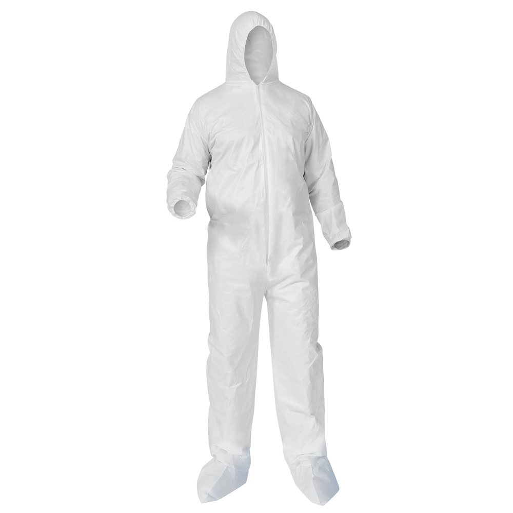 KleenGuard™ A35 Disposable Coveralls (38948), Liquid and Particle Protection, Zip Front, Elastic Wrists, Hood & Boots, White, Medium, 25 Garments / Case - 38948