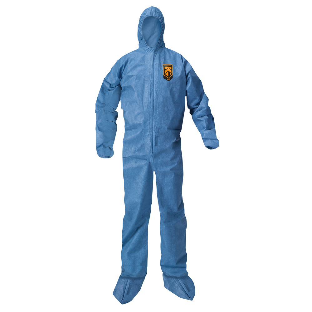 KleenGuard™ A20 Breathable Particle Protection Hooded Coveralls (58524), REFLEX Design, Zip Front, Hood, Boots, Blue, XL, 24 / Case - 58524