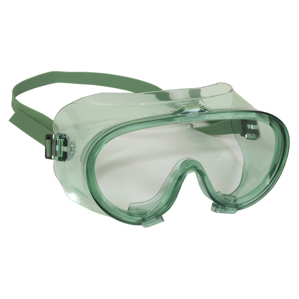 KleenGuard™ V70 Monogoggle 202 Safety Goggles (16667), D4 / D5 Rating for Dust Protection, Anti-Fog, Clear Lens, Green Frame, 6 Pairs / Case - 16667