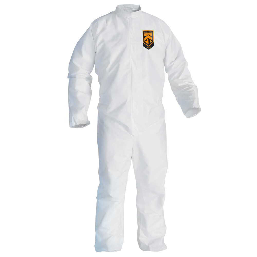 KleenGuard™ A45 Liquid & Particle Surface Prep & Paint Protection Coveralls (41489), Reflex Design, Zipper Front, White, 4XL, 25 / Case - 41489