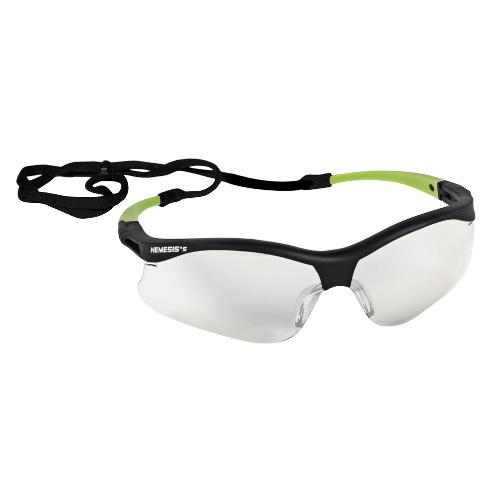 KleenGuard™ V30 Nemesis Small Safety Glasses (38480), Lightweight, Indoor / Outdoor Lens, Black Frame with Green Tips, 12 Pairs / Case - 38480