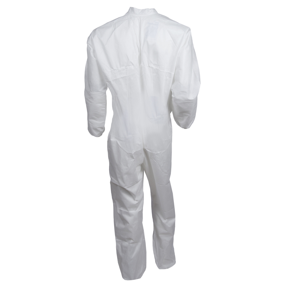 KleenGuard™ A10 Light Duty Coveralls (10616), Zip Front, Elastic Wrists, Breathable Material, White, 2XL, 25 / Case - 10616