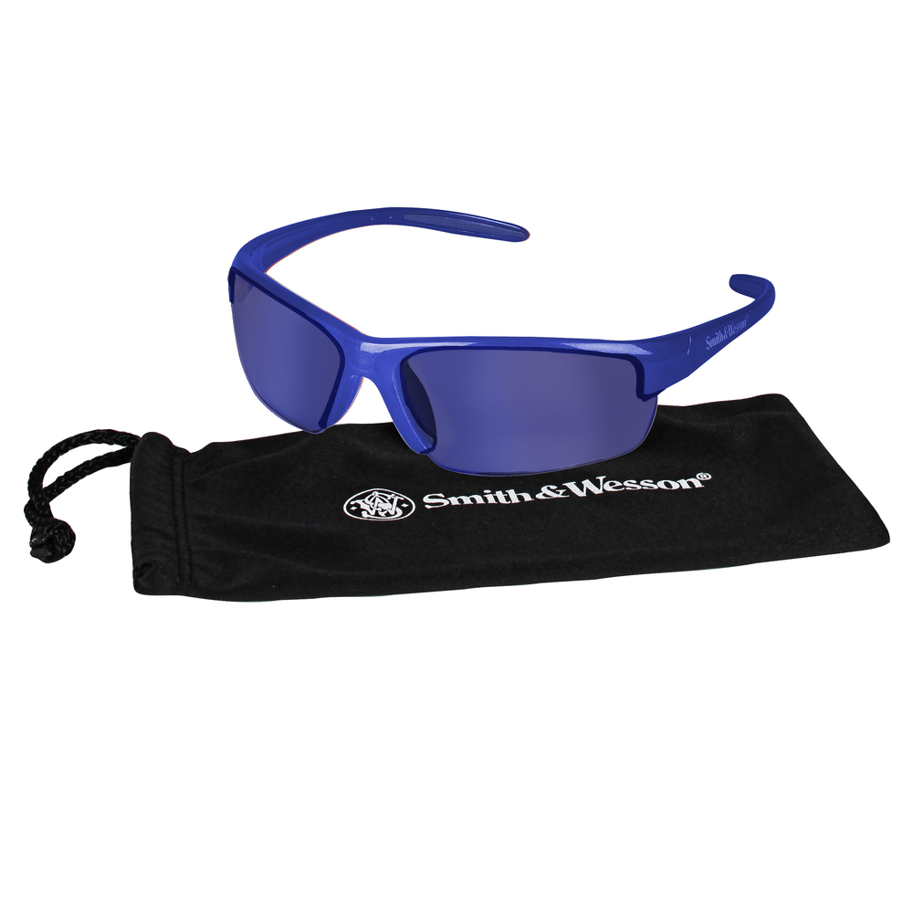 Smith & Wesson® Safety Glasses (21301), Equalizer Safety Eyewear, Blue Mirror Lens, Blue Frame, 12 Pairs / Case - 21301