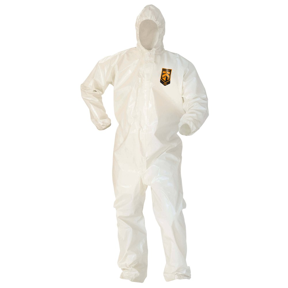 KleenGuard™ A80 Chemical Permeation & Jet Liquid Particle Protection Coveralls (45645), Zip Front, Storm Flap, EWA, Respirator-Fit Hood, White, 2XL, 12 / Case