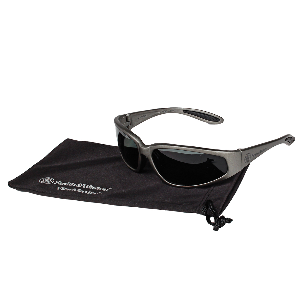 Smith & Wesson® Viewmaster Safety Glasses (19871), Polarized Smoke Lenses, Metallic Grey Frame, 12 Pairs - 19871