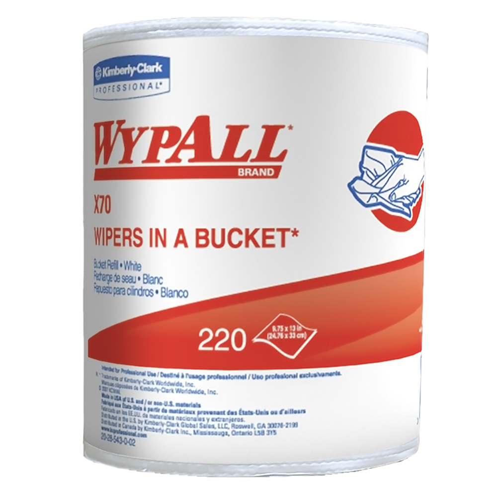 WypAll® X70 Extended Use Reusable Cloths in a Bucket Refill (83571), Long Lasting Performance, White, 1 Bucket, 220 Cloths / Roll, 3 Rolls / Case - 83571