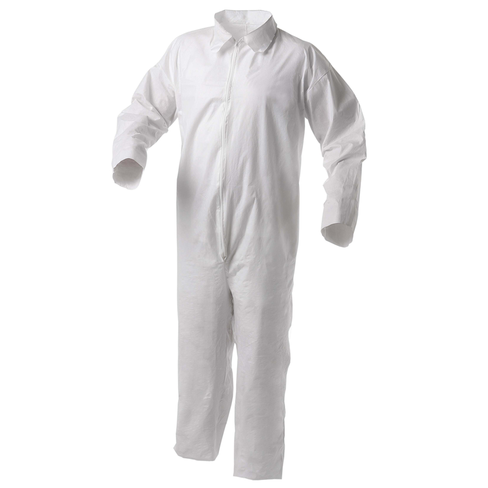 KleenGuard™ A35 Disposable Coveralls (38921), Liquid and Particle Protection, Zip Front, Open Wrists & Ankles, White, 3XL, 25 Garments / Case - 38921
