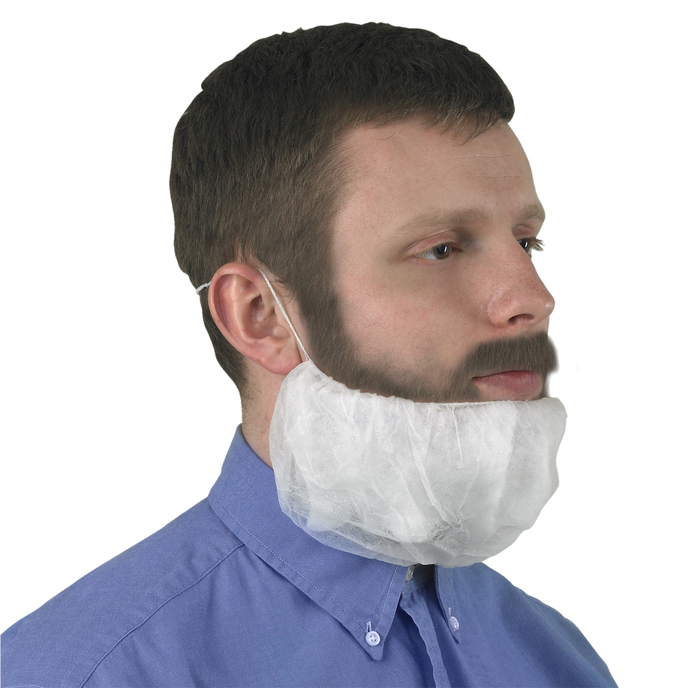 KleenGuard™ A10 Light Duty Beard Cover (66816), Breathable Material, White, XL, 10 Packs, 100 / Pack, 1000 / Case - 66816