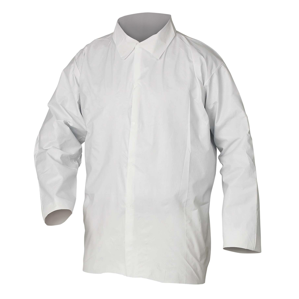 KleenGuard™ A40 Liquid & Particle Protection Shirts (44403), Snap Front, Open Wrists, White, Large, 50 Garments / Case - 44403